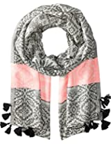 Betsey Johnson Women's Heart Jaquard Blanket Wrap Black Scarf One Size