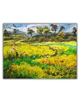 TIA Creation Yellow Flower Canvas 0365 Print on Cotton Canvas 31inch x 22inch