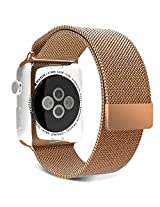 Apple Watch Band, MoKo Milanese Loop Stainless Steel Bracelet Smart Watch Strap for iWatch 42mm All Models with Unique Magnet Lock, No Buckle Needed - Brass GOLD (Not Fit iWatch 38mm Version 2015)