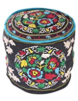 Classic Round Black Ottoman Cotton Floral Embroidered Pouf Cover Decor By Rajrang