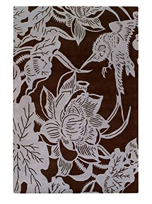 Chandra Counterfeit Studio Hand Tufted Wool Rug (Chocolate/White)