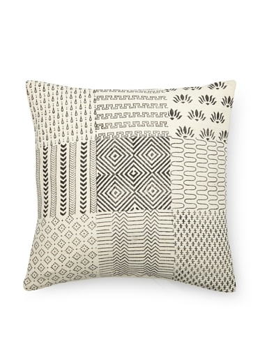 sOUP Home Geometric Block-Print Pillow Sham, White/Black, 18