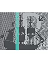 "Garnier Thiebaut Pirates Placemat, 14 by 18"", Vert, Green Sweet Stain Resistant Cotton, Set of 4, Made in France"