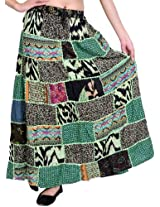 Exotic India Long Printed Dori Skirt from Gujarat with Patch Work - Color Paradise GreenGarment Size Free Size