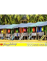 Puzzle Bug 300 Piece Puzzle ~ Colorful Huts On A Sandy Beach