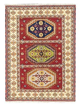 Hand-Knotted Royal Kazak Wool Rug, Cream/Dark Red, 5' 9