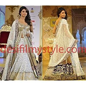 bollywood replica Priyanka white lehenga saree