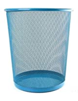 New Colourful Metal Mesh Waste Bin Rubbish Paper Net Basket Home Office Durable(Blue)