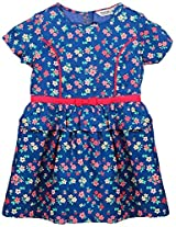 Beebay Girls Floral Print Peplum Dress Blue 12Y