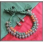 [N16O_030] Green & Orange Thread Necklace