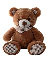 Dimpy Stuff Teddy Bear with Check Bow, Brown