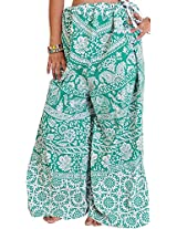 Exotic India Palazzo Pants from Pilkhuwa with Printed Flowers and Elephants - Color Green LakeGarment Size Free Size
