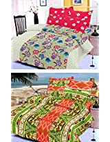 Nature Made Pack of 2 Green & Red Printed Double Bed Sheets 250 TC