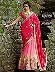 Peach & Pink Georgette & Shimmer Net & Raw Silk Blouse Heavy Embroidery Work & Hand Work Lehenga Saree