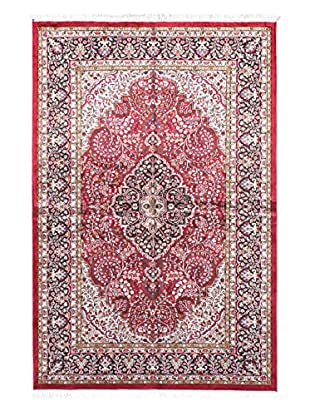 Hand-Knotted Kashmir Kerman Silk Rug, Red, 5' x 7' 7