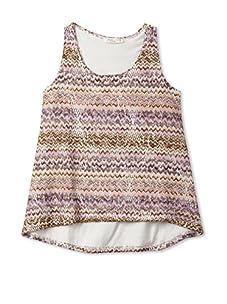 Pinc Premium Girl's High-Low Zig Zag Crochet Tank (Pink/Brown)