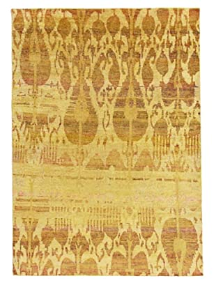 Silk Hand-Knotted Ikat Rug (Tan Multi)