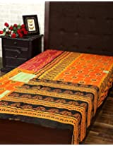Eye-Catching Single Gudri Orange Cotton Kantha Work Throw Blanket By Rajrang