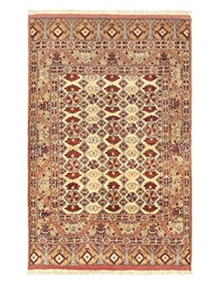Hand-Knotted Finest Mouri Silk Rug, Copper/Light Yellow, 4' 1