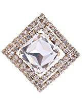 Chola Square Shaped Broach With Silver Big Crystal In The Centre & Small Crystals Outside (Silver)