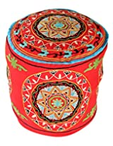 Colorfull Round Red Ottoman Cotton Floral Embroidered Pouf Cover Decor By Rajrang