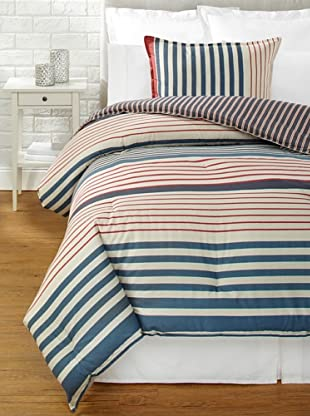 Tommy Hilfiger Reading Room Stripe Collection Comforter Set (Navy Stripe)