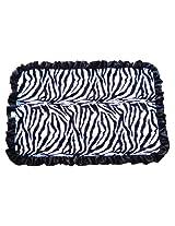 Patricia Ann Designs Satin Ruffles Zebra Swirl Indulgence Blanket, Hot Pink/Black