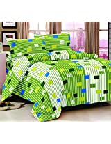 Trance Queen Double Bed Sheet Cotton - Green White Stripes