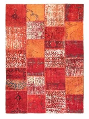 Handmade Ottoman Yama Patchwork Wool Rug, Dark Red, 5' 7