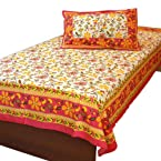 Little India Floral Gold Designer Single Bed Sheet Pillow Single Cotton Bedsheet - DLI3SBS403