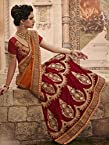 Net & Velvet Maroon Embroidered Lehenga Saree -LSRANNFAL1603