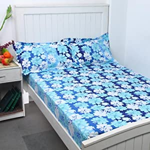 Bombay Dyeing Cotton Double Bed Sheet-Blue