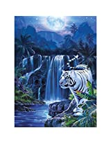 Masterpieces 500-Piece Jigsaw Puzzle, 14 by 19-Inch, Moonlit Tiger