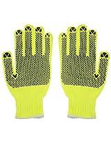 KANVEE Nylon Safety Gloves (Green, 1 Pair)