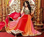 Unstitched Blue, Red, Orange & Peach Georgette Top With Santoon Bottom & Chiffon Dupatta Heavy Zari Embroidery Work Anarkali Salwar Suit Set