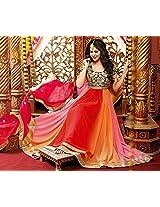 Unstitched Blue, Red, Orange & Peach Georgette Top With Santoon Bottom & Chiffon Dupatta Heavy Zari Embroidery Work Anarkali Salwar Suit Set