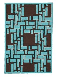 Trina Turk Bamboo Plaid Hook Rug (Turquoise/Brown)