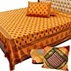 Little India Cotton Double Bed Sheet And Get Multicolour Cushion Cover Set Free - DL3COMB236