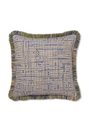 Elsa Blue Multi-Square Blue with Fringe Indoor/Outdoor Pillow, 17