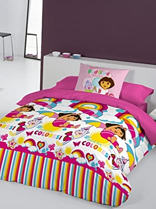 Euromoda Juego De Funda Nórdica Dora Rainbow (Rosa / Fucsia)