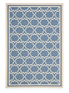 Indoor/Outdoor Medallion Rug (Blue/Beige)