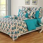 Swayam Blue And Beige Floral Printed Bed Set