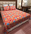 Home Candy Polka Cotton Double Bedsheet with 2 Pillow Covers -  Orange (CTN-BST-367)