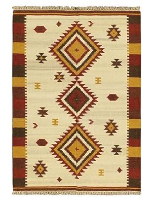 Hand Woven Kashkoli Wool Kilim, Cream, 4' 7