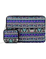 Laptop Sleeve, Mosiso New Bohemian Style Canvas Fabric Case Bag for 12.9 iPad Pro / 13.3 Inch Laptop / Notebook / MacBook Air / MacBook Pro With bonus case for MacBook charger or Magic Mouse, Purple