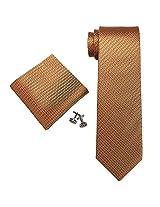 "Landisun Small Grid Mens Silk Tie Set: Tie+Hanky+Cufflinks 18A66 Metallic Orange, 3.25""Wx59""L"