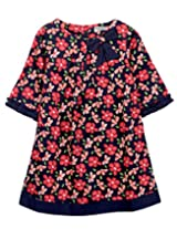 Floral Print Bow Dress Navy 10Y
