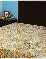 Gorgeous Silver Floral Cotton Kantha Work Bedspread By Rajrang