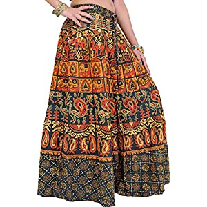 Exotic India Long Skirt From Pilkhuwa with Printed Camels - Color Green GablesGarment Size Free Size
