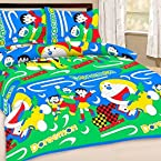 Innovative Multicolor Cotton Cartoon Printed Double Bed Sheet With Two Pillow Covers
